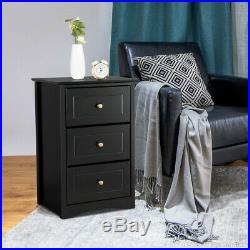 1/2PCS End Side Table Nightstand with 3 Drawers Bronze Handle Bedside Table Tall