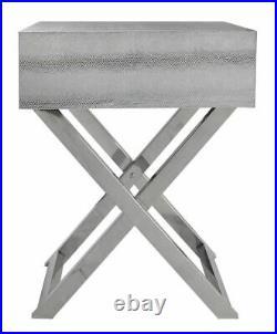 1 Drawer Silver Snakeskin End Side Stainless Steel Table Bedside Buckle Handles