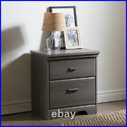 2-Drawer Nightstand Bed Side Table Lamp Stand Storage Bedroom Traditional Wooden