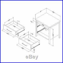 2-Drawer Nightstand Bed Side Table Storage Shelf Wooden Black Bedroom Furniture