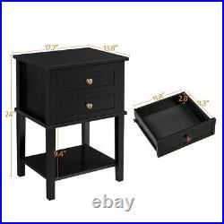 2 Drawer Nightstand sofa/Bed Side Lamp Table Kids Teen Bedroom Furniture Black