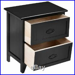 2 PCS 2 Drawers Nightstands Storage Wood End Table Bedroom Side Bedside Black