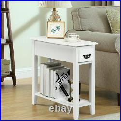 2 PCS Narrow Nightstand End Bedside Sofa Side Table With Drawer & Shelf White