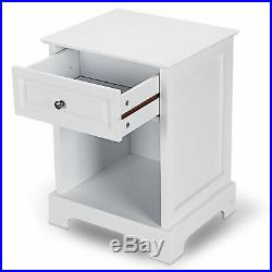 2 Pcs Night Stand End Accent Table Drawer Chest Sofa Side Bedside Storage White