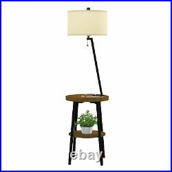 2 Shelf Accent End Table Floor Lamp Metal Legs Light USB Charging Port Bed Side