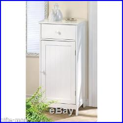 2 White beadboard shabby Wood cabinet drawer bedside bath side table nightstand