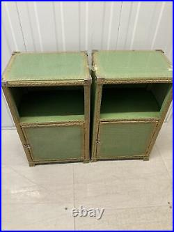 2 X Lloyd Loom Vintage Bedside Side Tables Cabinets Turquoise Green & Gold