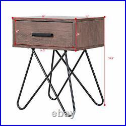 2PC Nightstand Side End Coffee Table Storage Display Steel Leg Bedroom WithDrawer