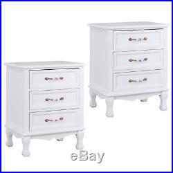 2PCS 3 Drawer Nightstand Storage Solid Wood End Table Bedroom Side Bedside White