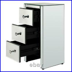 2PCS Bedside Table Side Cabinet Mirrored Glass 3 Drawers Crystal Nightstand