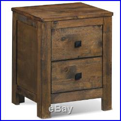 2PCS Nightstand Bed Side End Coffee Table Wood 2 Storage Sliding Drawers Bedroom