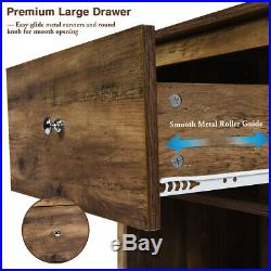 2PCS Nightstand Sofa Bed Side Coffee Table Storage Drawer Shelf Bedroom Antiqued