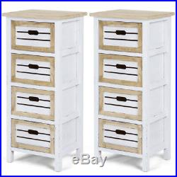 2PCS Wooden Chest Bedside Table Nightstand Cabinet Side End Table With4 Drawer