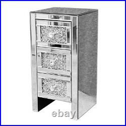 3 Drawer Nightstand Mirrored Bedside Table Accent Side Lamp End Table US