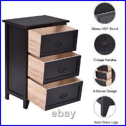 3 Drawers Nightstand End Table Bedroom Storage Wood Side Bedside Black NEW
