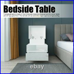 3 Tier End Side Bedside Table Nightstand Organizer with Drawer Storage + RGB LED