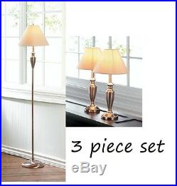 3 pc modern nickel plated silver Metal floor Table office Lamp bedside side sofa