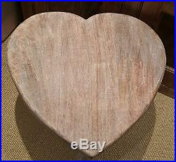 45cm Tall Vintage Chic Heart Side End Table Coffee Bedside Shabby Country Rustic
