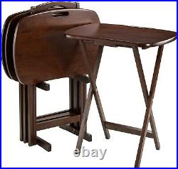 5 Piece Tray Table Set Walnut Finish Wooden Folding Portable TV Sofa Bed Side
