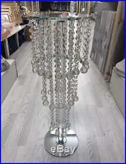 60 Silver Mirrored Side Table Modern Glass Stand Bed Side Sparkle Crystal Romany