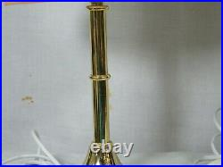 A Lovely Pair of Side/Bedside Table Lamps, Brass Stands with matching Pink Shade