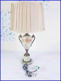 A Lovely Pair of Vintage French Bronze Bedside Side Table Lamps with Shade