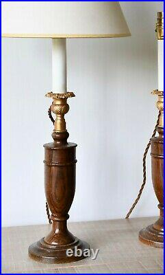 A Pair of Art Deco Oak Candlestick Gilt Brass Hall Desk Bed Side Table Lamps