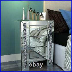 Accent Nightstand 3 Drawer Mirrored Glass Bedside End Table Side Cabinet Bedroom