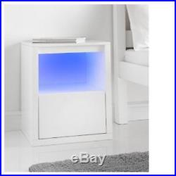 Alaska high gloss side table media unit coffee table bedside cabinet LED Lights