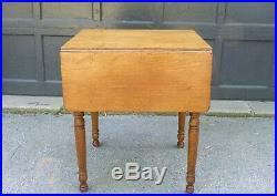 Antique Drop Leaf 2 Dr Bedside Stand Butternut Pembroke Side Table 1880s