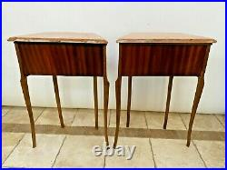 Antique French Matching Bedside Chests Night Stands Side Table Pink Marble tops