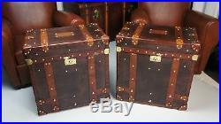 Antique Leather Pair Of Occasional Side Table Trunks Bed Side Vintage Trunks