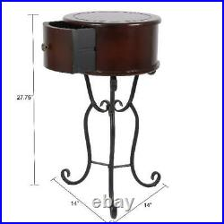 Antique Small Round Side Table Accent Bedside Wood Metal Drawer Scroll Espresso