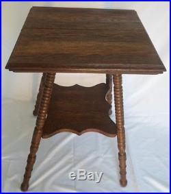 Antique Square Oak Bed Side Table