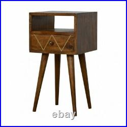 Art Deco Small Narrow Bedside / Side Table With Gold Inlay Detail Dark Wood