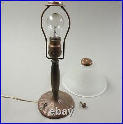 Authentic Vintage Handel Bronze Bed Side Table lamp with Original Glass Shade