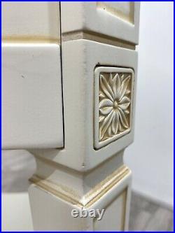 Beautiful Cream & Gilt Detail 2 Drawer SIDE TABLE Bedside Cabinet Storage