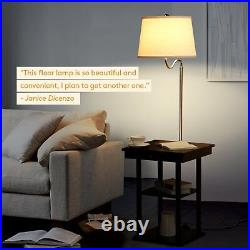 Bed Side Table White Shade Lamp LED Living Room End Floor USB Electric Outlet