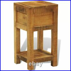 Bedside Cabinet Solid Mango Wood Nightstand End Side Table Stand with Drawer US