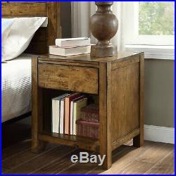 Bedside Table Rustic Wood Nightstand End Side Drawer Shelve Bedroom Furniture