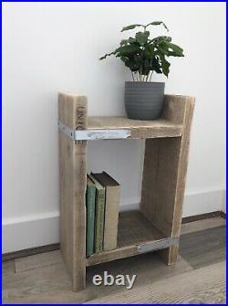 Bespoke Rustic Industrial Bedside Table Or Side Table Reclaimed Scaffold Boards