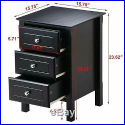 Black Finish Wooden 3 Drawer Nightstand Bedside Table End Side Storage Furniture