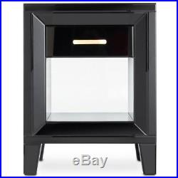 Black Mirrored Bedside Table Bedroom Storage Cabinet Drawer Nightstand Side New