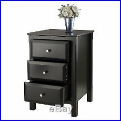 Black Nightstand Wood Bedside Table 3 Drawer End Side Storage Bedroom Furniture