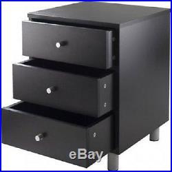 Black Side Table Bedroom End Accent Night Stand Bedside Shelf Wood Modern S