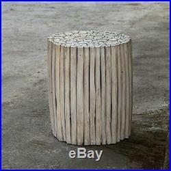 Bleach Teak Wood Round End Side Accent Table Living Room Bedside Modern Coastal