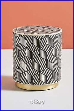 Bone Inlay Geometric Round Wooden Antique Handmade Indian Bed Side table Stool