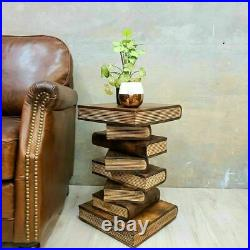 Book Stack Raintree Wood Bedside Side Table Corner Stool Planet Stand RTF y
