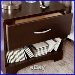 Brown Nightstand Bedside Table 1 Drawer End Side Storage Shelf Bedroom Furniture