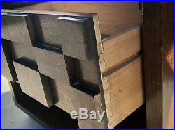 Brutalist/Cubist mid-century BED SIDE TABLE LANE modern mcm (Partial set avail)